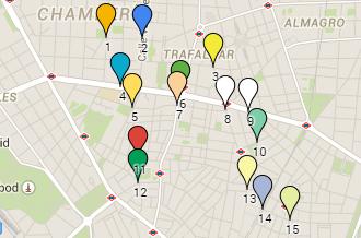 Mapa frases versos Madrid paso peatones